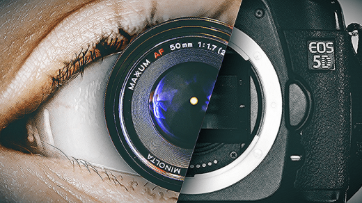 The human eye has an optical resolution of more megapixels than that of a  digital camera.