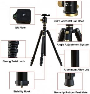 Compact Aluminum Tripod with 360 Degree Ball Head and 8kgs Load for Phone, Camera Sony Canon