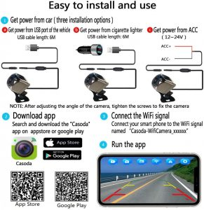 Vehicle Backup Cameras Casoda WiFi Wireless Backup Camera for iPhone and  Android Easy to Install Ultra Strong Signal Smooth Video Image Never  Freezing Clear Picture Suitable for Cars Trucks Trailers SUVs Automotive