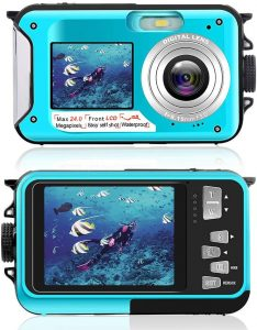 Amazon.com : Waterproof Camera Underwater Camera for Snorkeling 2.7K 24MP  Digital Camera, HD Rechargeable Camera with Dual Screen for Camping,  Underwater, Swiming, Underwater Camera (Blue) : Camera & Photo