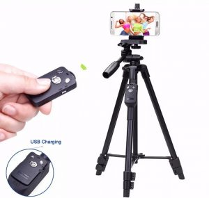 Mobile Phone, Cameras Strong Tripod Stand with Bluetooth Shutter -