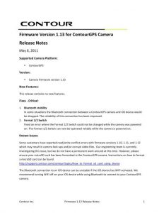 Firmware Version 1.13 for ContourGPS Camera Release Notes