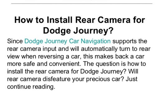 How to install rear camera for dodge journey