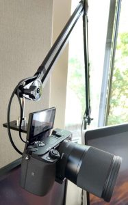 Mount a camera on a microphone boom arm for WFH video conferencing –  adjustable and shock isolation for a standing desk – Ocraz