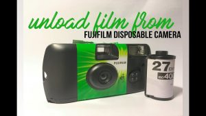 how to unload film roll from fujifilm disposable camera - YouTube