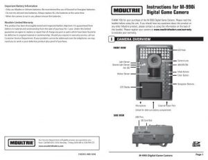Moultrie M-990i Owner's Manual - Trail Camera