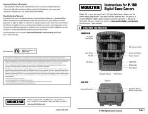 Moultrie Panoramic 150 Manual - Trail Camera