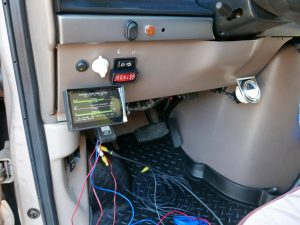 The solar display and backup camera screen | Birds of passage