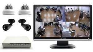 4 Security Camera with Monitor Systems for Live Video Display