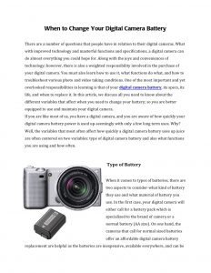 When to Change Your Digital Camera Battery
